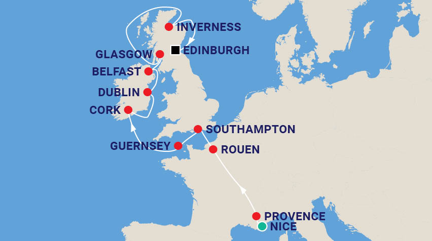 France & British Isles Cruise with George and Paul Map