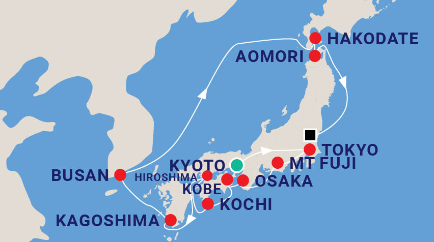 Land of the Rising Sun Japan Cruise Map