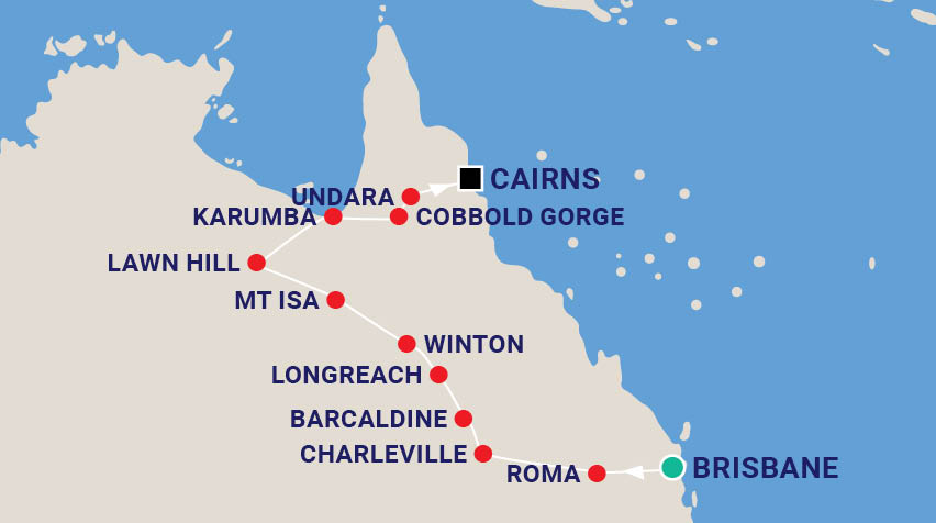 Outback Queensland Music Tour with Craig Giles Map