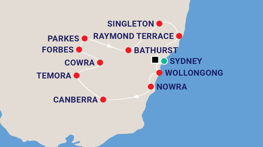 Planes, Trains & Automobiles NSW Tour with Warren Brown Map