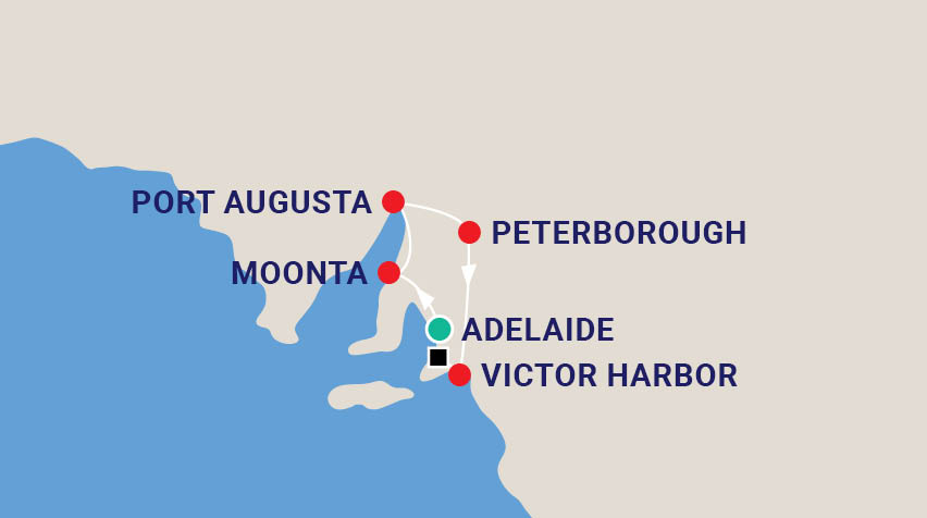 Rail Tour of South Australia Map