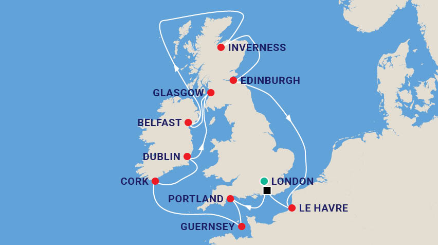 Celtic Cruise of the British Isles Map