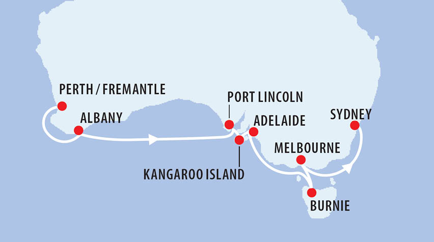 Perth to Sydney Circumnavigation Map