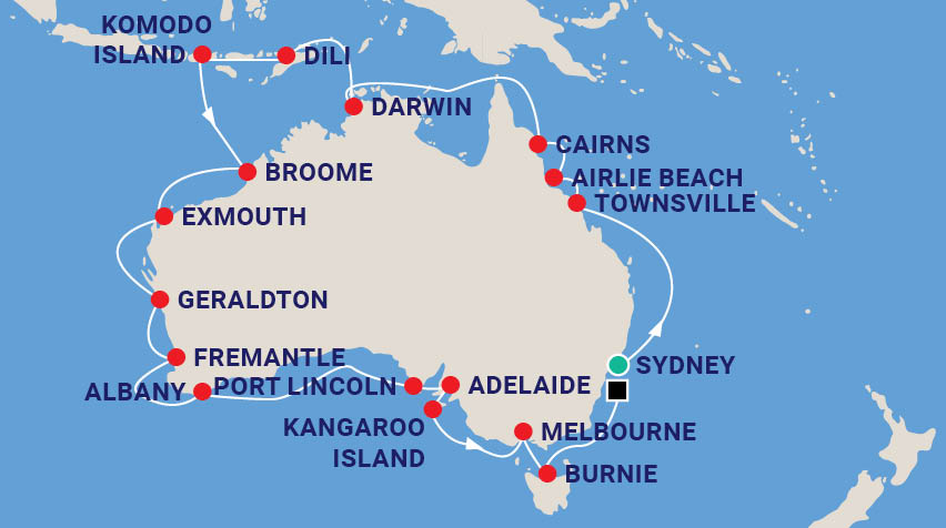 Sydney to Perth Circumnavigation Map