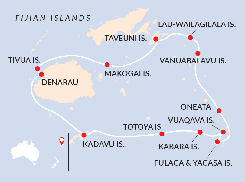 Fijian Islands Discovery Cruise Map