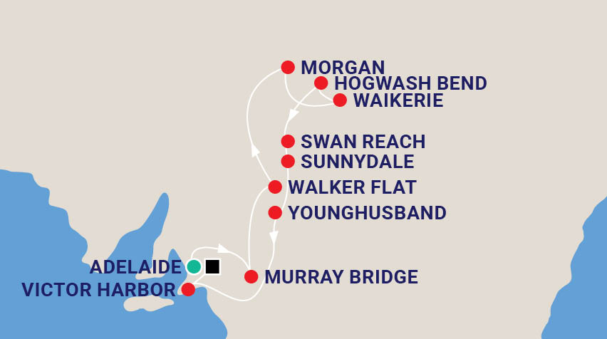 Murray River Cruise & South Australia Exploration Map
